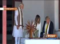 US President Donald Trump and First Lady Melania Trump spin the Charkha at Sabarmati Ashram