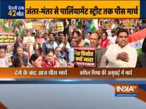 BJP leader Kapil Mishra leads a peace march from Jantar Mantar to Parliament street