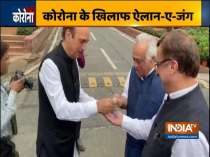 Coronavirus Effect: Congress leaders spotted using sanitiser before entering into the Parliament