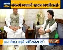 BJP leader Jyotiraditya Scindia meets Defence Minister Rajnath Singh at his residence in Delhi