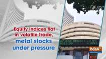 Equity indices flat in volatile trade, metal stocks under pressure