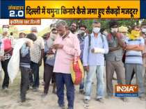 Migrant workers defy lockdown as they gather near Yamuna Bank in Delhi