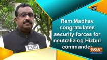 Ram Madhav congratulates security forces for neutralizing Hizbul commander