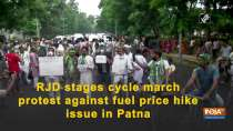 RJD stages cycle march protest against fuel price hike issue in Patna
