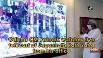 Odisha CM Patnaik watches live telecast of Jagannath Rath Yatra from his office