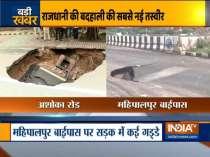 Roads cave-in as heavy rains lash Delhi