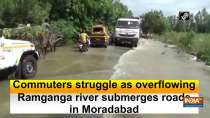 Commuters struggle as overflowing Ramganga river submerges roads in Moradabad