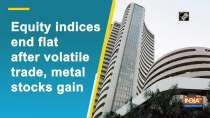 Equity indices end flat after volatile trade, metal stocks gain