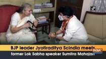 BJP leader Jyotiraditya Scindia meets former Lok Sabha speaker Sumitra Mahajan