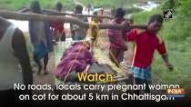 Watch: No roads, locals carry pregnant woman on cot for about 5 km in Chhattisgarh