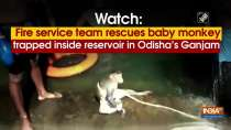 Watch: Fire service team rescues baby monkey trapped inside reservoir in Odisha