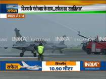 Water cannon salute given to the five Rafale fighter aircraft at Ambala airbase
