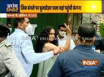 Kangana Ranaut, sister Rangoli visit their demolished office in Pali Hill