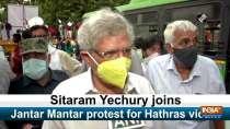 Sitaram Yechury joins Jantar Mantar protest for Hathras victim