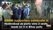 AIMIM supporters celebrate in Hyderabad as party wins 2 seats, leads on 3 in Bihar polls