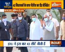 Bihar CM Nitish Kumar arrives at JDU office in Patna to meet newly elected party MLAs, & workers