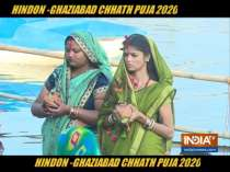 Chhath Puja Celebrated with restrictions at the bank of river Hindon, Ghaziabad