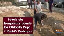 Locals dig temporary ponds for Chhath Puja in Delhi