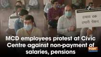 MCD employees protest at Civic Centre against non-payment of salaries, pensions