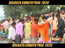 People in Kolkata celebrate Chhath Puja on the bank of river Hooghly amid coronavirus scare