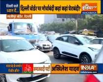 Delhi: Heavy traffic jam at ghazipur border amid farmers