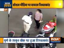 Woman Traffic cop takes bribe from scooty rider in Pune