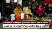 Students in Nepal perform vedic practice to mock government