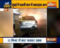 Mumbai: Car catches fire on Eastern Expressway, no casualities
