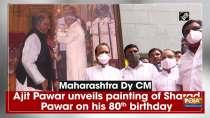 Maharashtra Dy CM Ajit Pawar unveils painting of Sharad Pawar on his 80th birthday