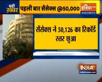 Sensex jumped over 240 points to hit 50,000-mark for the first time
