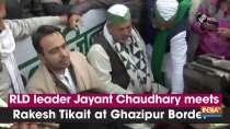 RLD leader Jayant Chaudhary meets Rakesh Tikait at Ghazipur Border