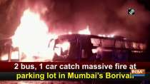 2 bus, 1 car catch massive fire at parking lot in Mumbai