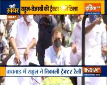 Congress leader Rahul Gandhi holds a tractor rally in Wayanad