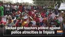 Sacked govt teachers protest against police atrocities in Tripura