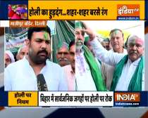 Farmers protesting against farm laws at Ghazipur border celebrate Holi