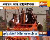 Mamata Banerjee and Amit Shah hold a roadshow in Nandigram; Mithun Chakraborty in Kharagpur