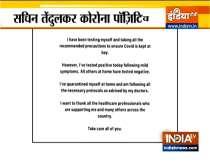 Sachin Tendulkar tests positive for COVID-19