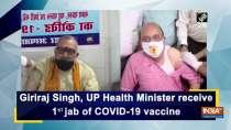 Giriraj Singh, UP Health Minister receive 1st jab of COVID-19 vaccine