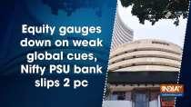 Equity gauges down on weak global cues, Nifty PSU bank slips 2 pc