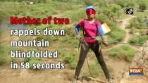 Mother of two rappels down mountain blindfolded in 58 seconds