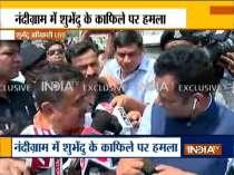 TMC workers attack Suvendu Adhikari convoy, India TV reporter injured