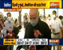 Manish Sisodia inspects the phase 3 COVID-19 vaccination drive at Vinod Nagar, Delhi