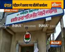 Tension in Nandigram as BJP and TMC workers indulge in a clash; BJP office set on fire