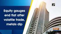 Equity gauges end flat after volatile trade, metals dip