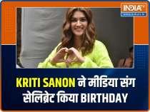 Kriti Sanon celebrates birthday with media, Kartik Aaryan snapped outside Aneez Bazmee