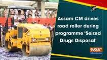 Assam CM drives road roller during programme
