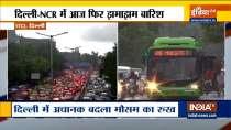 Watch: Heavy rainfall witnessed in Delhi, Traffic jam