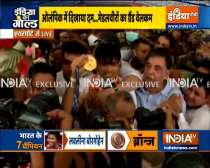 Huge crowd outside Delhi airport to welcome Olympics medal winners