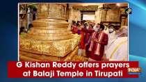 G Kishan Reddy offers prayers at Balaji Temple in Tirupati