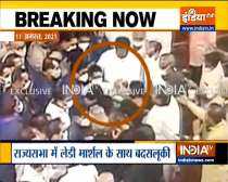 Lady marshal manhandled in Rajya Sabha, Congress MPs seen pushing her